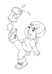 Outline illustration of a boy kicking an empty cans