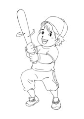 Outline illustration of a boy holding a baseball bat