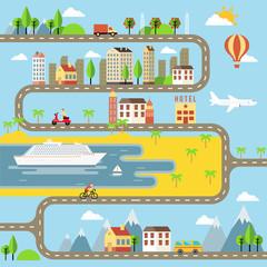 Vector Small Town Cityscape Illustration