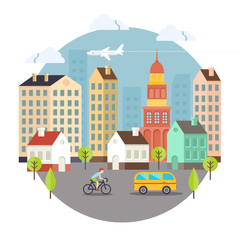 Beautiful Colored Vector City Street Design