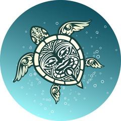 Swimming sea turtle with Polynesian tribal pattern
