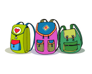 Three Vector Colorful Children Backpacks