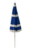 Blue beach umbrella isolated on white