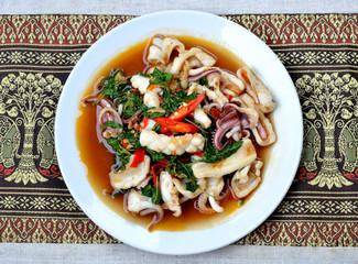 Thai fried squid in basil sauce