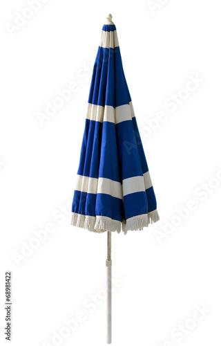 Blue beach umbrella isolated on white - 68981422