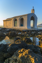 White Church By Sunrise In Crete