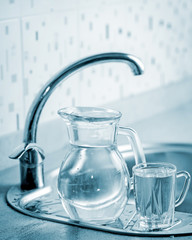 Glass jug and cup with water