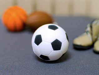 soccer football on grey background