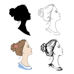 Woman head profiles