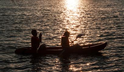 roll boat in water silhouette