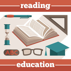 Education reading icons set