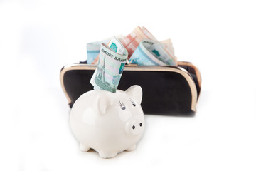 piggy bank with money and wallet