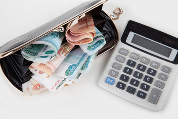 Russian money in your wallet and calculator