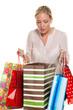 Frau mit bunten Einkaufstaschen