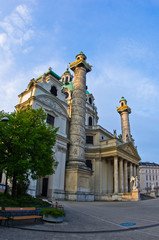 Karlskirche or saint Charles church at sunrise in Vienna