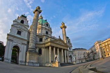Karlskirche or saint Charles church at sunrise in Vienna
