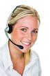 Leinwandbild Motiv Frau mit Headset im Kundenservice