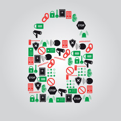 security icons in padlock shape eps10