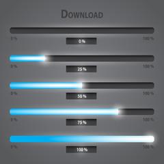 blue lights internet download bars set eps10