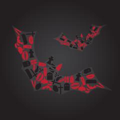 vampire icons in dark bat shape eps10