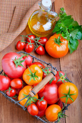 Tomatoes with herbs and oil
