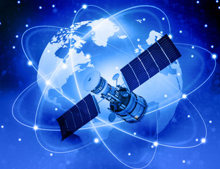 Satellites connection and  earth  background