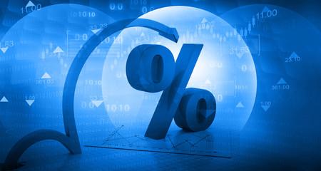 Moving arrow with percentage symbol