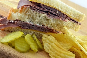 Cold Roast Beef Sandwich Meal With Potato Chips