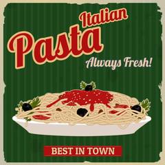 Italian pasta retro poster