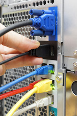 Technician is connecting device to a server