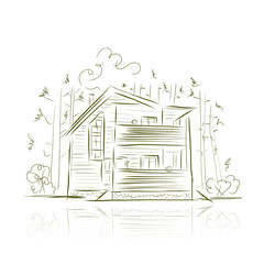 Country house in forest, sketch for your design