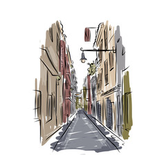 Sketch of old spanish street for your design
