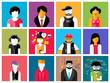 Zdjęcia na płótnie, fototapety, obrazy : Set of stylish avatars of man and woman icons