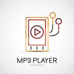Mp3 player company logo, business concept