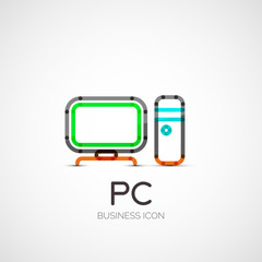 PC icon company logo, business concept