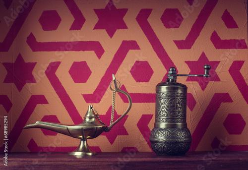 Muslim still life. Lamp and mill