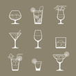 Alcohol drinks and cocktails icon set in flat design style. - 68985417