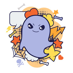 Halloween kawaii print or card with cute doodle ghost.