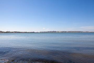 blue city seashore