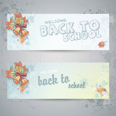 two horizontal banners with school subjects and autumn leaves