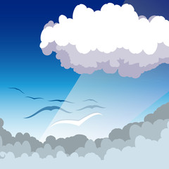 Cloud scape with seaguls
