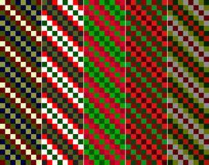 Set of 5 seamless patterns in Christmas colors