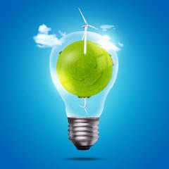 Eco bulb of windmill and green globe