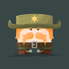 Wild west.  Cartoon sheriff with mustaches and hat