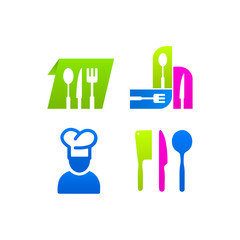 Kitchen set of colored icons sign menu
