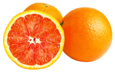 Sicilian oranges isolated on white