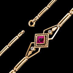 Gold bracelet on black background