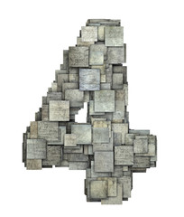 3d gray tile four 4 number fragmented on white