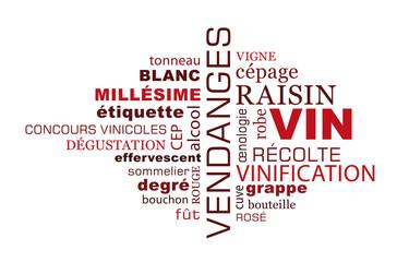 Nuage de mots sur le thème du vin