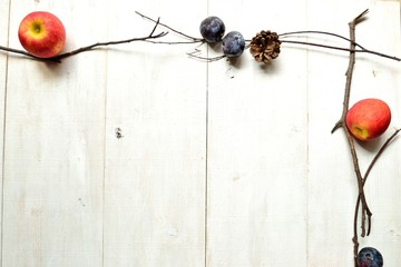 Apple,prune and pine cone